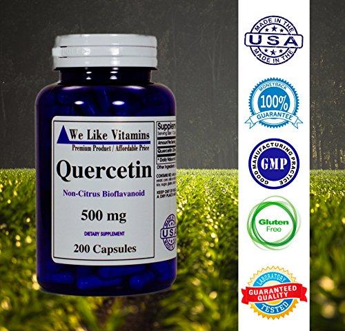 Quercetin 500mg 200 Capsules Best Value Natural Antihistamine Quercetin Supplement