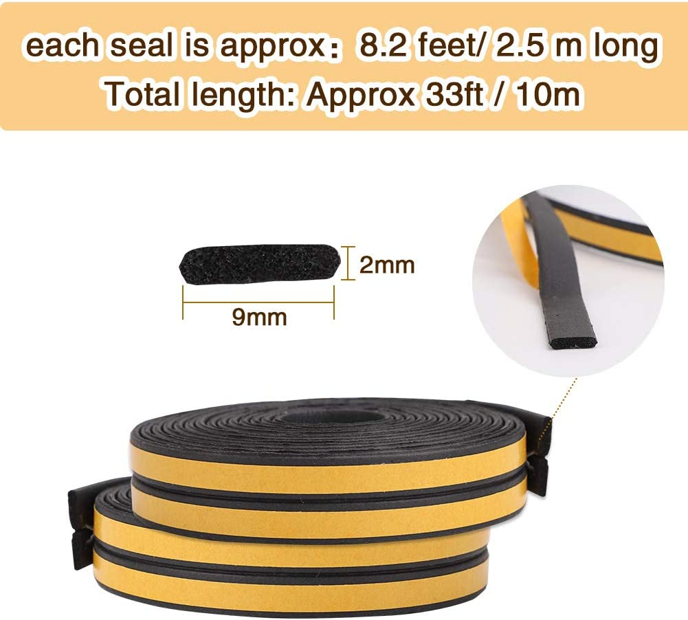 Door Window Draught Excluder Seal Strips 4 Seals Total 10M 9mm x 2mm x 2.5m I Type Rubber Seal Weather Strip Foam Tape Anti-Collision Self-Adhesive Weatherstrip Soundproofing Waterproofing