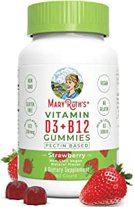Vegan Vitamin D3+B12 Gummy (Plant-Based Gummies) by MaryRuth's - Made w/Organic Ingredients Non-GMO Vegan Paleo Gluten Free for Men, Women & Kids 1000 IU Vitamin D3 & 250 mcg Vitamin B12 60 Count