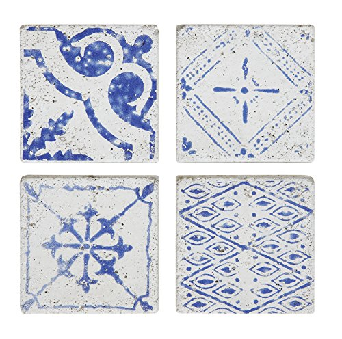 (Creative Co-op Blue & White Square Cement Tile Coasters (Set of 4 Pieces))