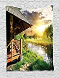 XHFITCLtd Nature Tapestry, Wooden Country House by the Lake with Horizon Background Village Rural Life View, Wall Hanging for Bedroom Living Room Dorm, 60 W x 80 L Inches, Multicolor
