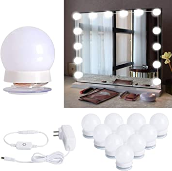 Hollywood Style Led Vanity Mirror Lights Kit With 10 Dimmable Light Bulbs For Makeup Dressing Table And Power Supply Plug In Lighting Fixture Strip Vanity Mirror Light White No Mirror Included Lighting
