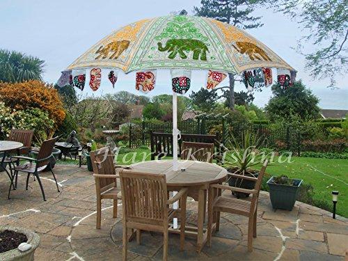 Hare Krishna Outdoor Garden Hand Open Umbrella Patio Cotton Sun Large Yard Parasol (Multi Color) 70 x 90 Inches ()