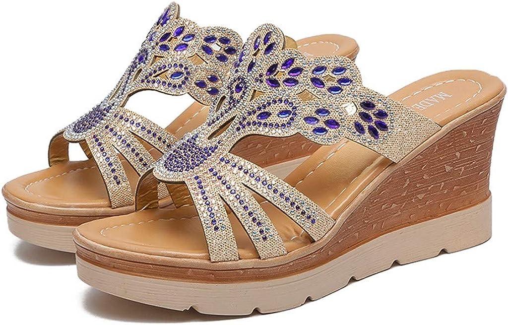 WINJIN Tong Femme Compensees Sandales Femmes Chaussures De Plage Mules Pantoufles Et/é Mode Plateforme 8cm Chaussons De Fond /Épais Roma Bout Ouvert Flip Flops Espadrille Strass Or 35-40