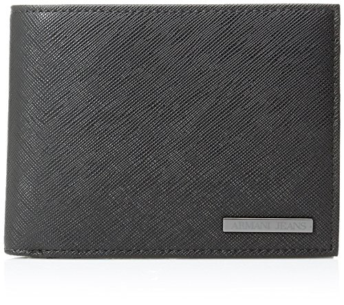 Armani Jeans Men's Saffiano Embossed Tri-Fold Wallet, Black, One Size ()