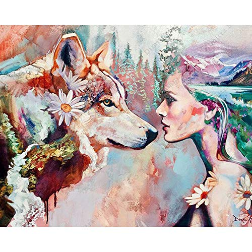 5D DIY Diamond Painting kit Rhinestone Embroidery 5D Diamond Painting Arts for Craft Home Wall Decor,Colorful Lady and Wolf 12x20 Inch