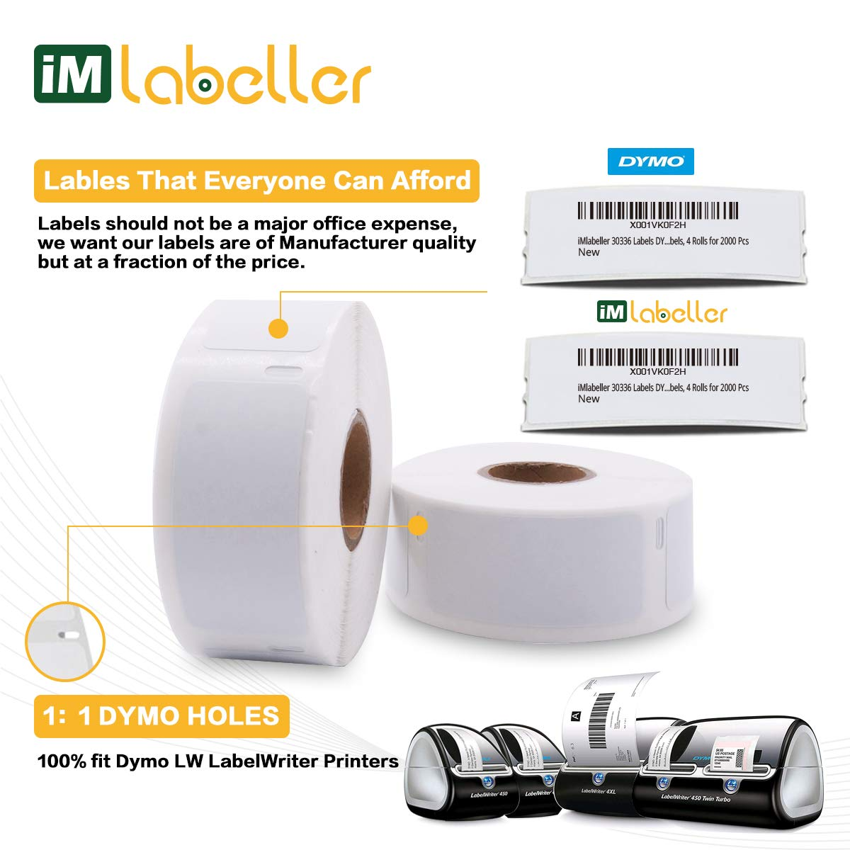 iMlabeller 30336 Labels DYMO Multipurpose Address Barcode