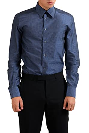 """362b008f Versace Collection """"Trend"""" Navy Patterned Men's Dress Shirt ..."""