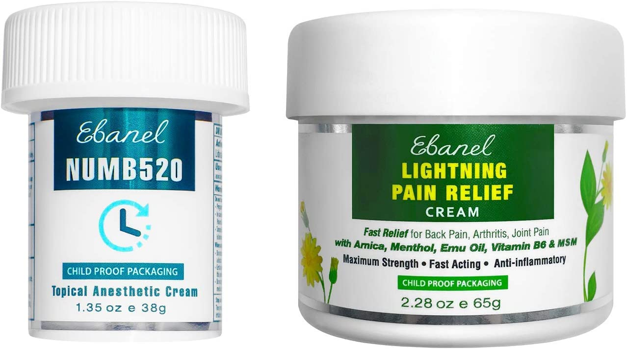 Ebanel Bundle of Lidocaine Numbing Cream, and Pain Relief Cream Arnica Menthol 2.28 Oz