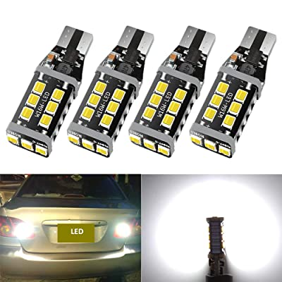 921 912 T15 LED Bulb Extremely Bright 1100 Lumen 15SMD Upgrade 2835 Chips, Canbus Error Free 921 912 T15 W16W LED Bulb, Replacement for Backup Reverse Lights 6500K Xenon White-4Pcs: Automotive [5Bkhe0400265]