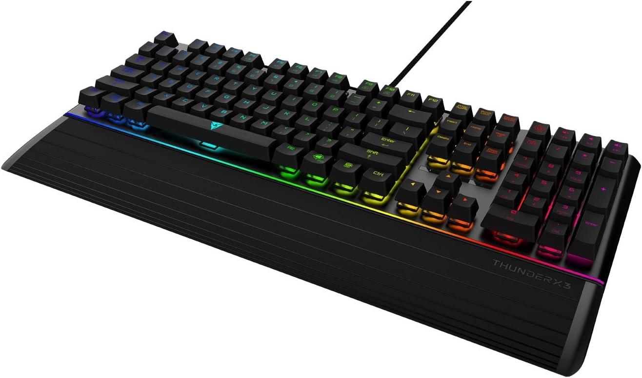ThunderX3 AK7CHB - Teclado gaming mecánico (RGB 16.8 millones de colores, 11 efectos de luz, tiras Led en la parte superior e inferior, switch Cherry ...