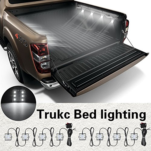 Tinpec Universal Waterproof White LED Truck Bed/Rear Work Box Lighting Kit Trunk Light for 1994-2010 Dodge Ram 1500 2500 3500 White