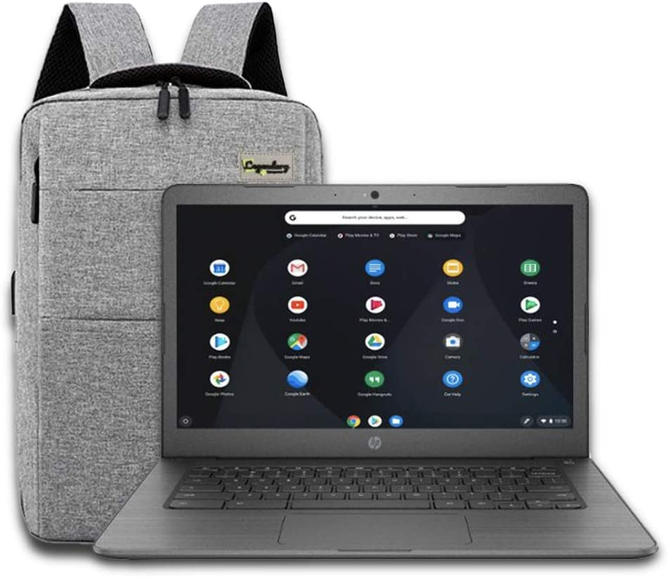 "2020 HP 14"" Lightweight Chromebook AMD A4-Series Processor, 4GB RAM, 32GB eMMC Storage, Webcam, WiFi, Chrome OS (Google Classroom or Zoom Compatible) Gray/Legendary Accessories"