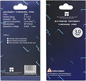 Thermalright Thermal Pad 12.8 W/mK, 85x45x3mm, Non Conductive Heat Resistance, Extreme Odyssey Silicone Thermal Pads for PC Laptop Heatsink/GPU/CPU/LED Cooler (3mm)