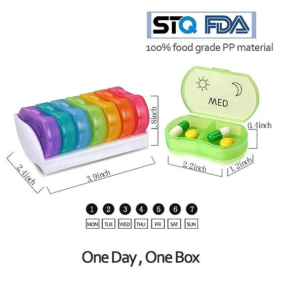 Anpole Pastillero Semanal 14 Compartimientos 7 Días Pill Box Medicina Organizador de Pastillas Portátil Recordatorio: Amazon.es: Salud y cuidado personal