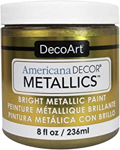 DecoArt Ameri Deco MTLC VintBrass Americana Decor Metallics 8oz VintagBrass, 8 Count