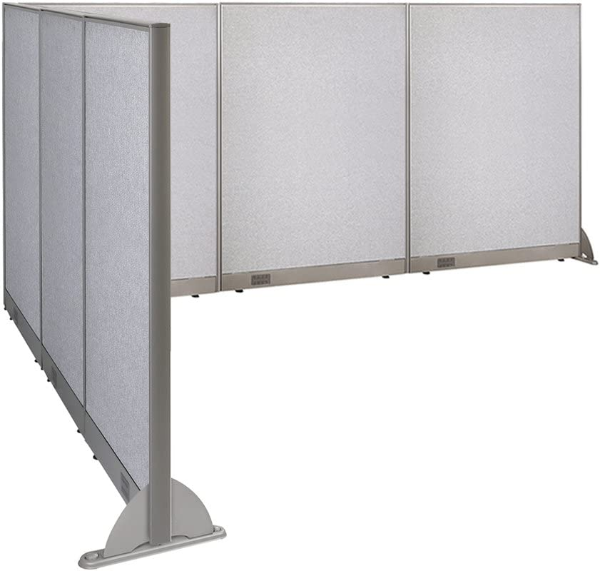 """GOF Freestanding L Shaped Office Partition, Large Fabric Room Divider Panel, 90""""D x 144""""W x 60""""H"""