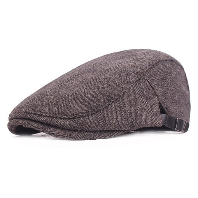 0b4cb576f77 Fasbys Mens Cotton Flat Cap Gatsby Duckbill Hat Newsboy Ivy Irish Cabbie  Scally Cap (Coffee