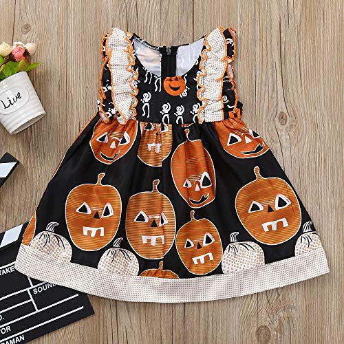 MOKO-PP Infant Toddler Baby Girls Pumpkin Print Ruched Dresses Halloween Costume Outfits(black,100)
