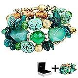 YouMiYa Silver Bead Bracelet Valentine Gifts Vintage Imitation Natural Stone Resin Stone Couple Bracelet Loose Stone Agate Beaded Multi-Layer Bangle Including Packing