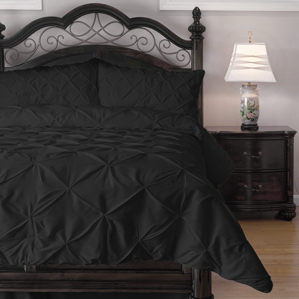 Pinch Pleat Comforter Set - 4-Piece - by ExceptionalSheets, Cal King, Black