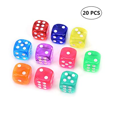 Symphony 6-Sided Dice Set, 20 Pieces Rounded Edges Game Dice Game Accessories for Tenzi Farkle Yahtzee Bunco or Teaching (Mixed Color): Sports & Outdoors