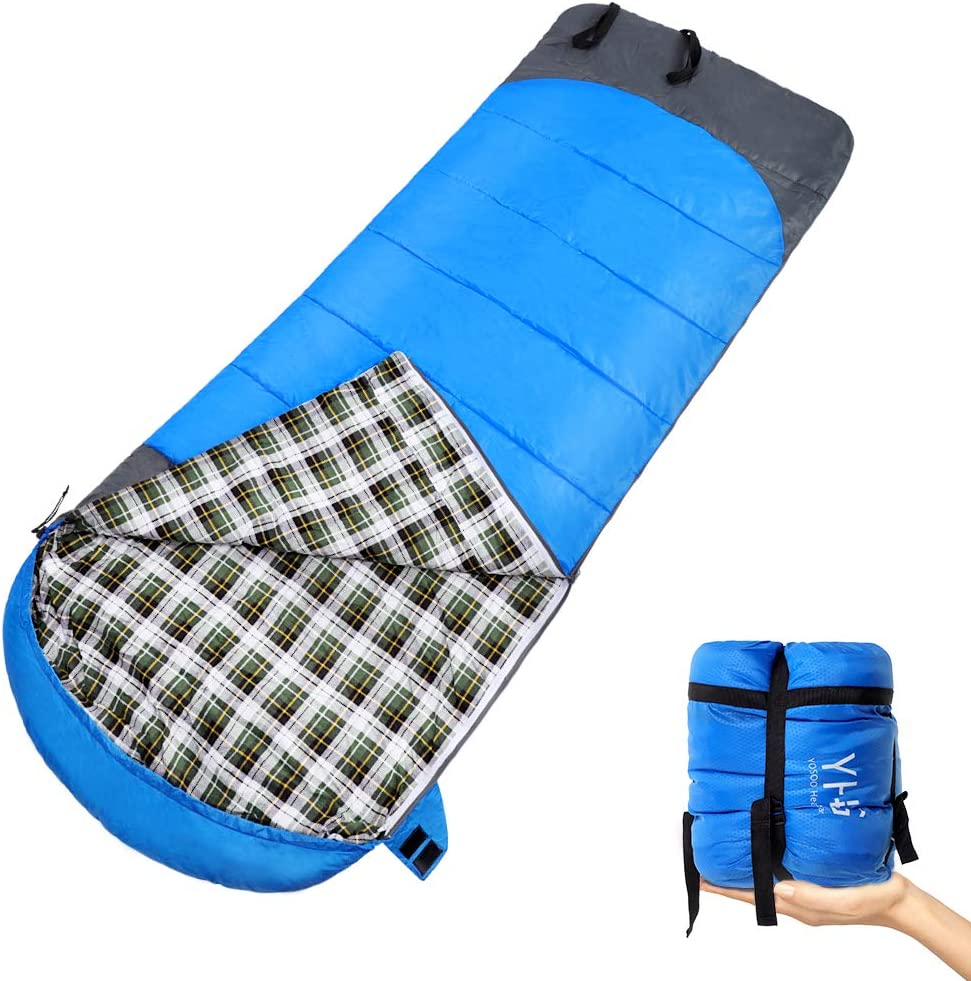 Yosoo Health Gear Sleeping Bag Liner, 25 More Space Lightweight Travel Sheet Breathable Camping Sheet with Zipper for Outdoor Travel Hiking Hotels Picnics