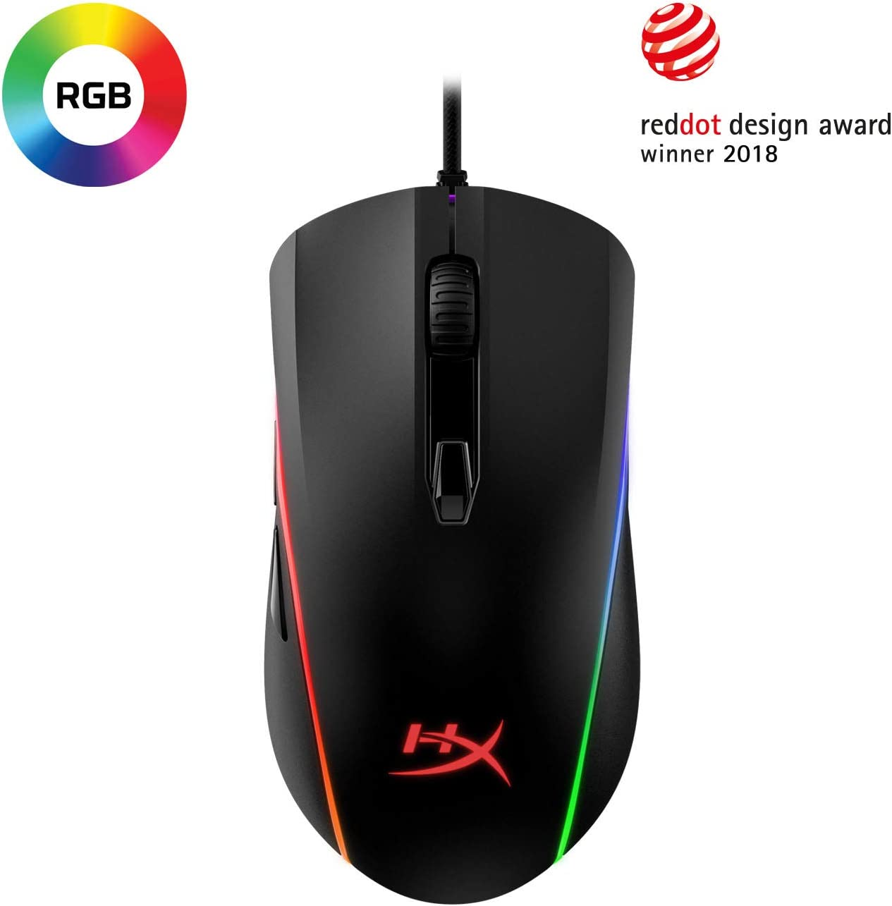 HyperX Pulsefire Surge - RGB Wired Optical Gaming Mouse, Pixart 3389 Sensor up to 16000 DPI, Ergonomic, 6 Programmable Buttons, Compatible with Windows 10/8.1/8/7 - Black