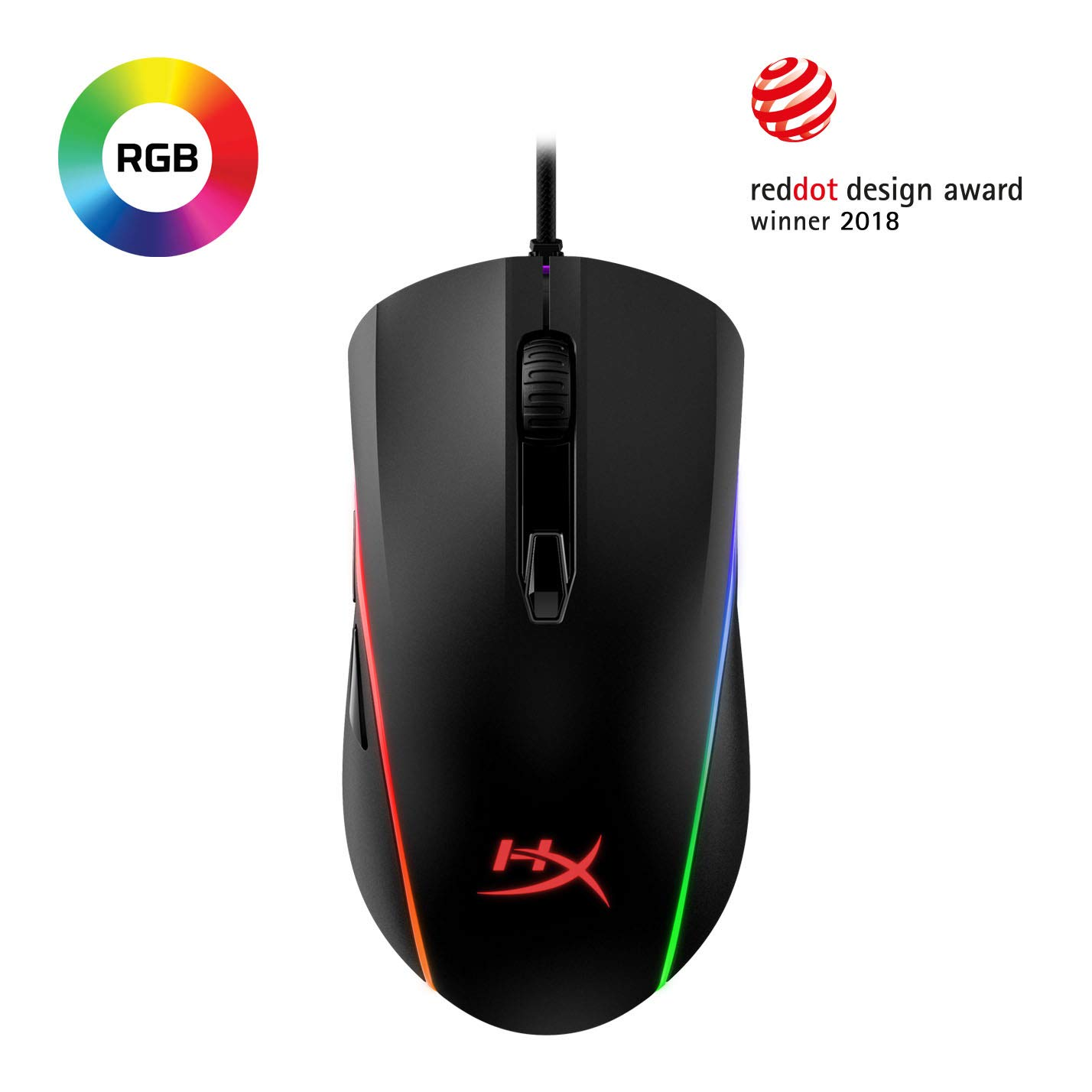 HyperX Pulsefire Surge - RGB Wired Optical Gaming Mouse, Pixart 3389 Sensor up to 16000 DPI, Ergonomic, 6 Programmable Buttons, Compatible with Windows 10/8.1/8/7 - Black by HyperX