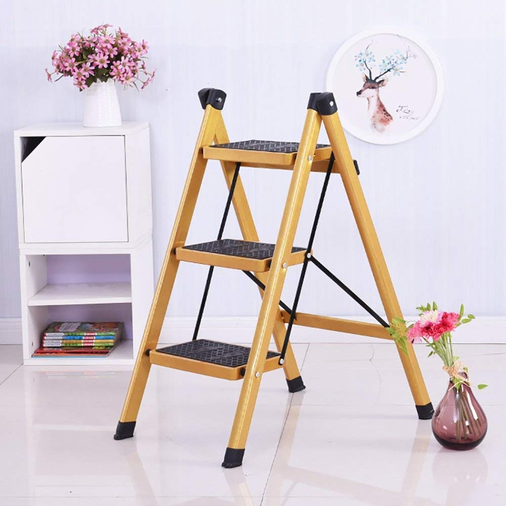 XQY Household Step Stool, Photography Folding Step Stool, Gold Iron Art Folding Ladder Kitchen Flower Stand Shelf,3tier by XQY