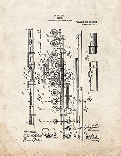 Flute Patent Print Art Poster Old Look