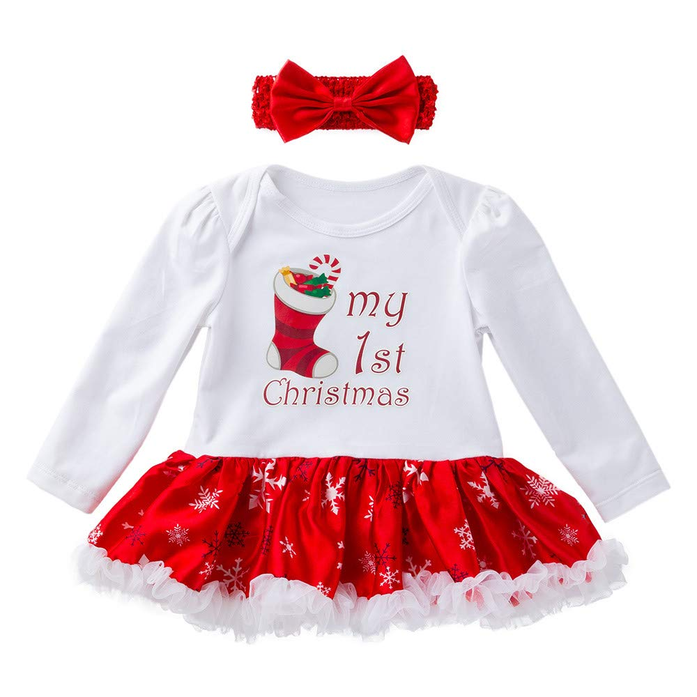 30fce24cf02 Amazon.com  Clearance 2pcs Newborn Baby Girls Christmas Princess Tutu Skirt  Dress Lace Dot Santa Claus Romper Dresses Outfits Set  Clothing