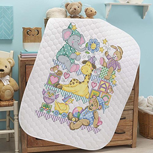 Herrschners® Pre-Quilted Playland Baby Quilt Kit Stamped - Stitch Cross Quilt