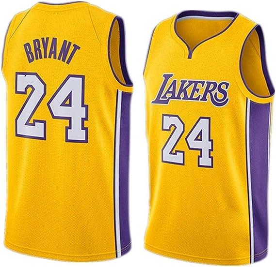 FMSport Jerseys De Baloncesto para Hombre - NBA Lakers # 24 Bryant Uniforme De Baloncesto Camiseta De Chaleco Clásico De Tela Transpirable Fresca, L~175cm/65~75kg: Amazon.es: Ropa y accesorios