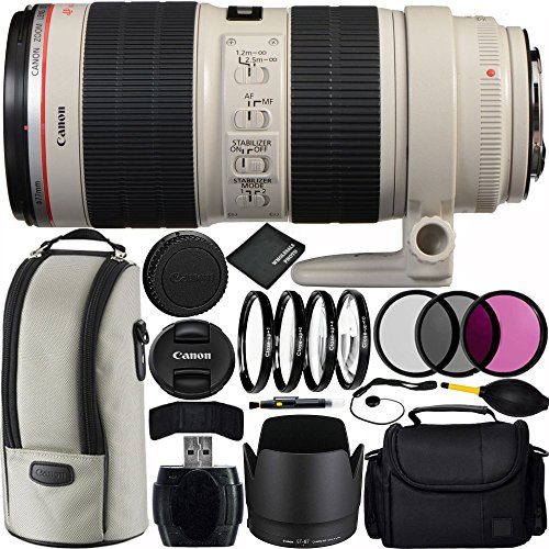 Canon EF 70-200mm f/2.8L IS II USM Lens Bundle with Manufacturer Accessories & Accessory Kit for EOS 7D Mark II, 6D Mark II, 5D Mark IV, 5D S R, 5D S, 5D Mark III, 80D, 70D, 77D, T5, T6, T6s, T7i, SL2 by Canon