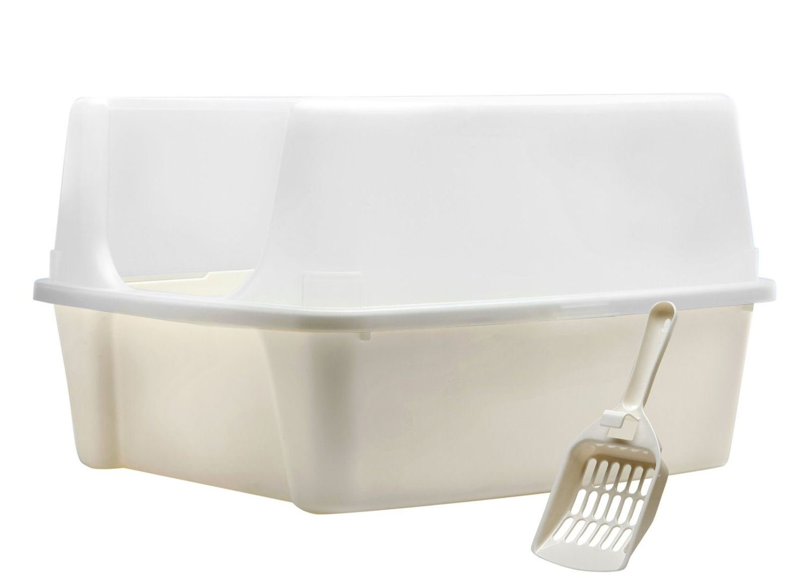 Clean Pet Cat Kitty Open Top Cats Litter Box with Shield and Scoop Tidy :New