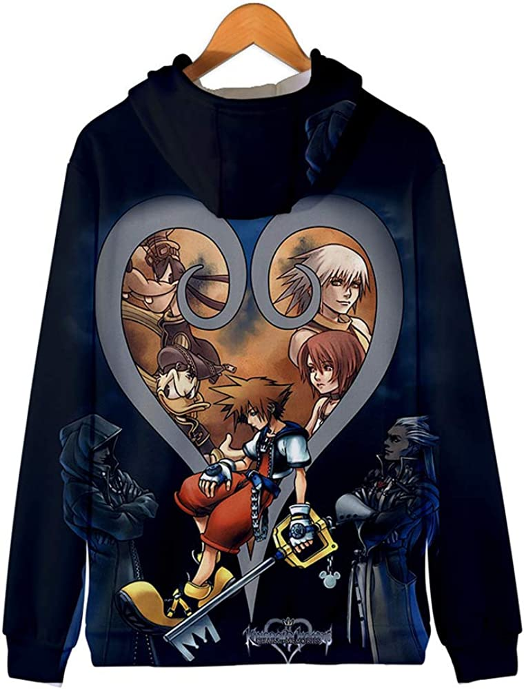 V-BestLee Kingdom Zipper Hoodies 3D Print Sora Kairi Zip Up Jacket Coat Unisex Cosplay Costume for Adults Kids