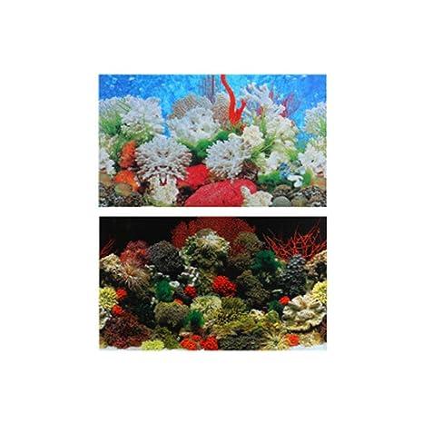 Fondo del Acuario Pegatina de Acuario Impermeable con Coral Acuario pecera Fondo Decorativa de PVC Grueso