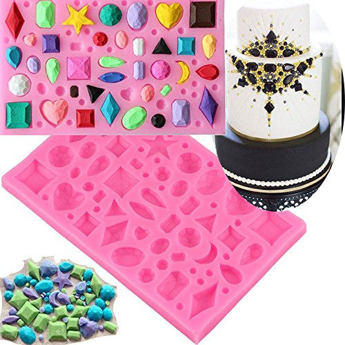 Anyana Mini Diamonds Jewel Baking Molds Gemstone Silicone Fondant molds crystal Cake Decorating Tools Gumpaste gem bead cupcake topper decorations cabochon resin Clay Chocolate Candy Molds easy to use