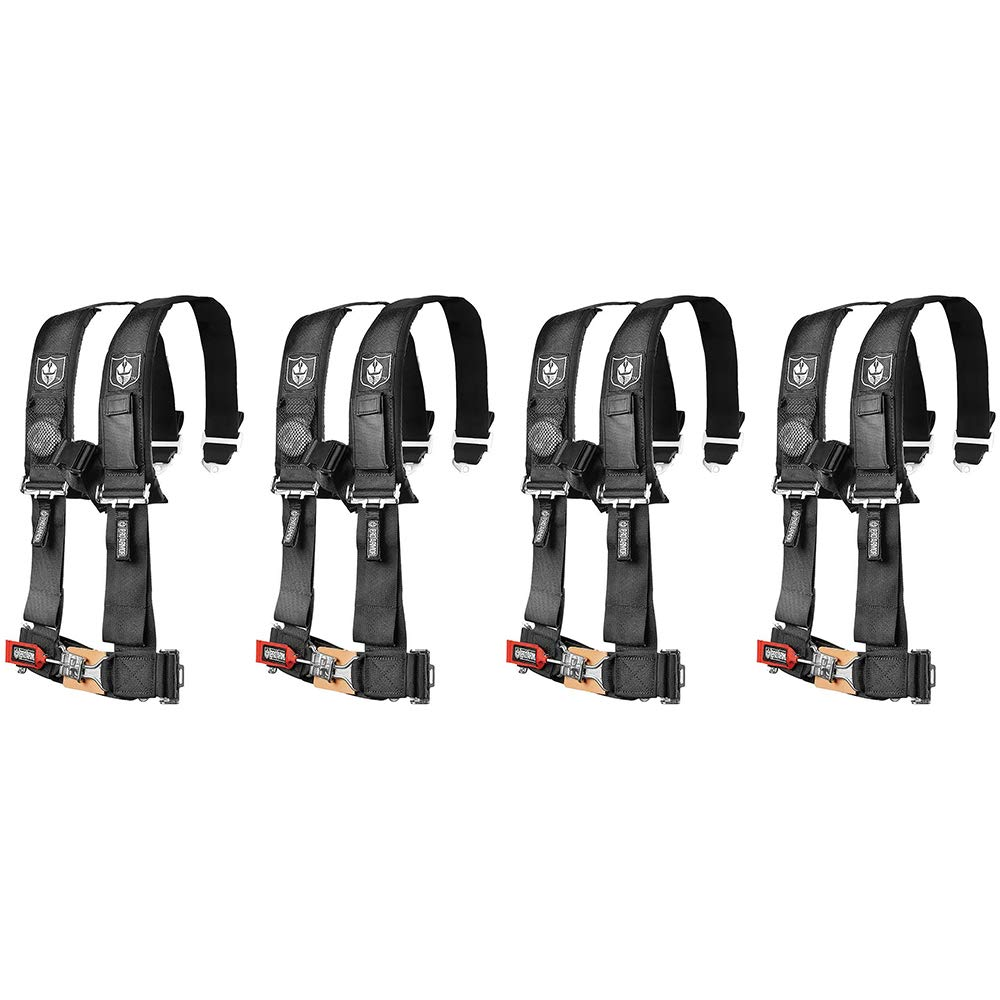 Pro Armor A114230 Black 4-Point Harness 3'' Straps, 4 Pack