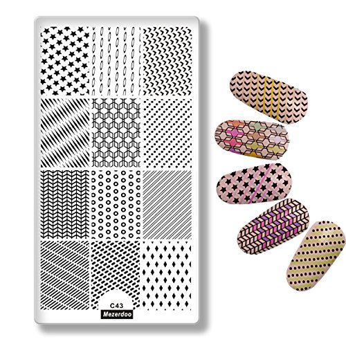 Mezerdoo Classical Stripes Star Nail Templates Nail Stamping Plates Nail Art Painting Image Plate Geometry Polish Manicure Stencil Tools