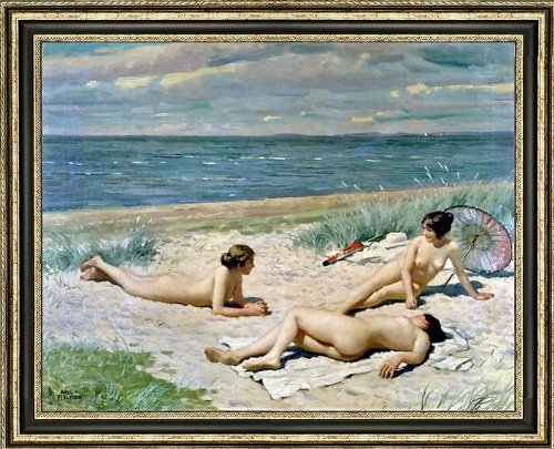 "Paul-Gustave Fischer Bathers on a Beach - 18.5"" x 24.5"" Framed Premium Canvas Print"