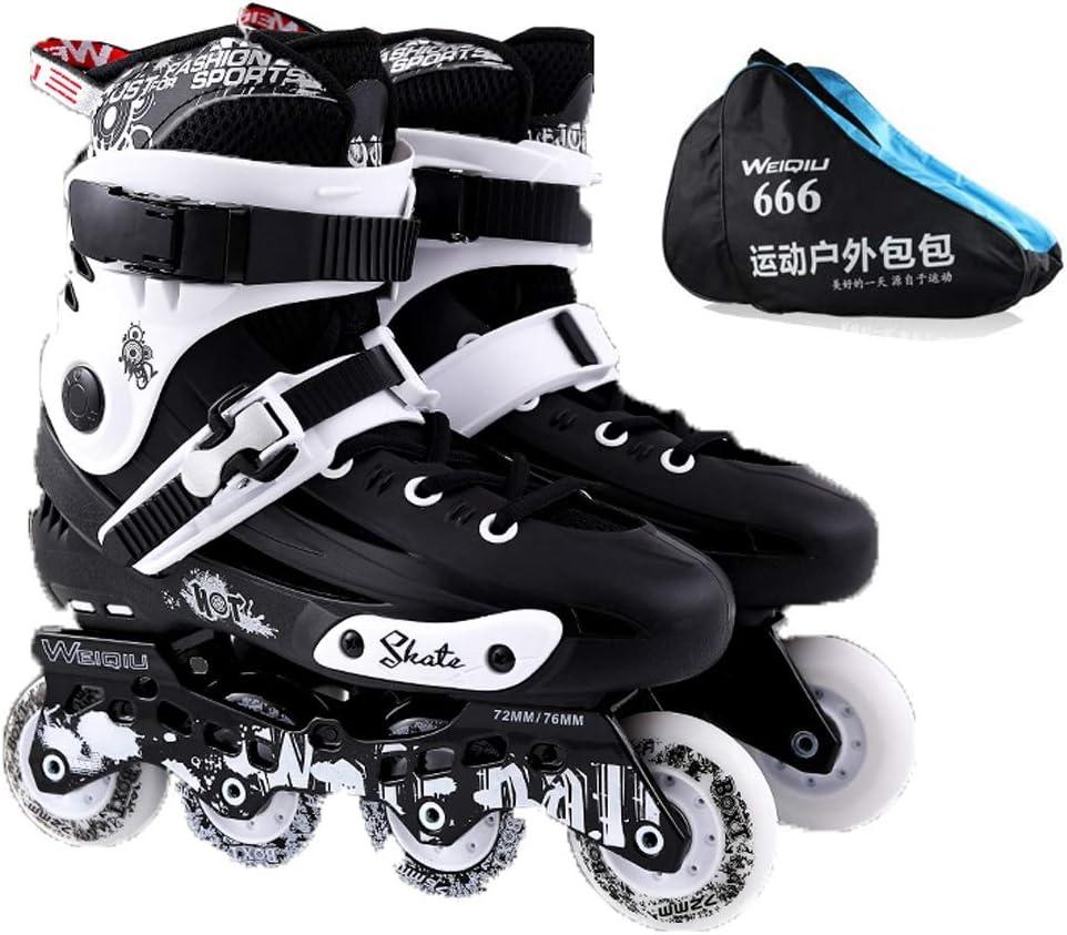ZHANGHAIMING インラインローラースケート、照らすホイール女性男性アウトドアインラインスケート、初心者フィットネスローラーブレード、ブラックホワイト (Color : 白い, Size : EU 42/US 9/UK 8/JP 26cm) 白い EU 42/US 9/UK 8/JP 26cm