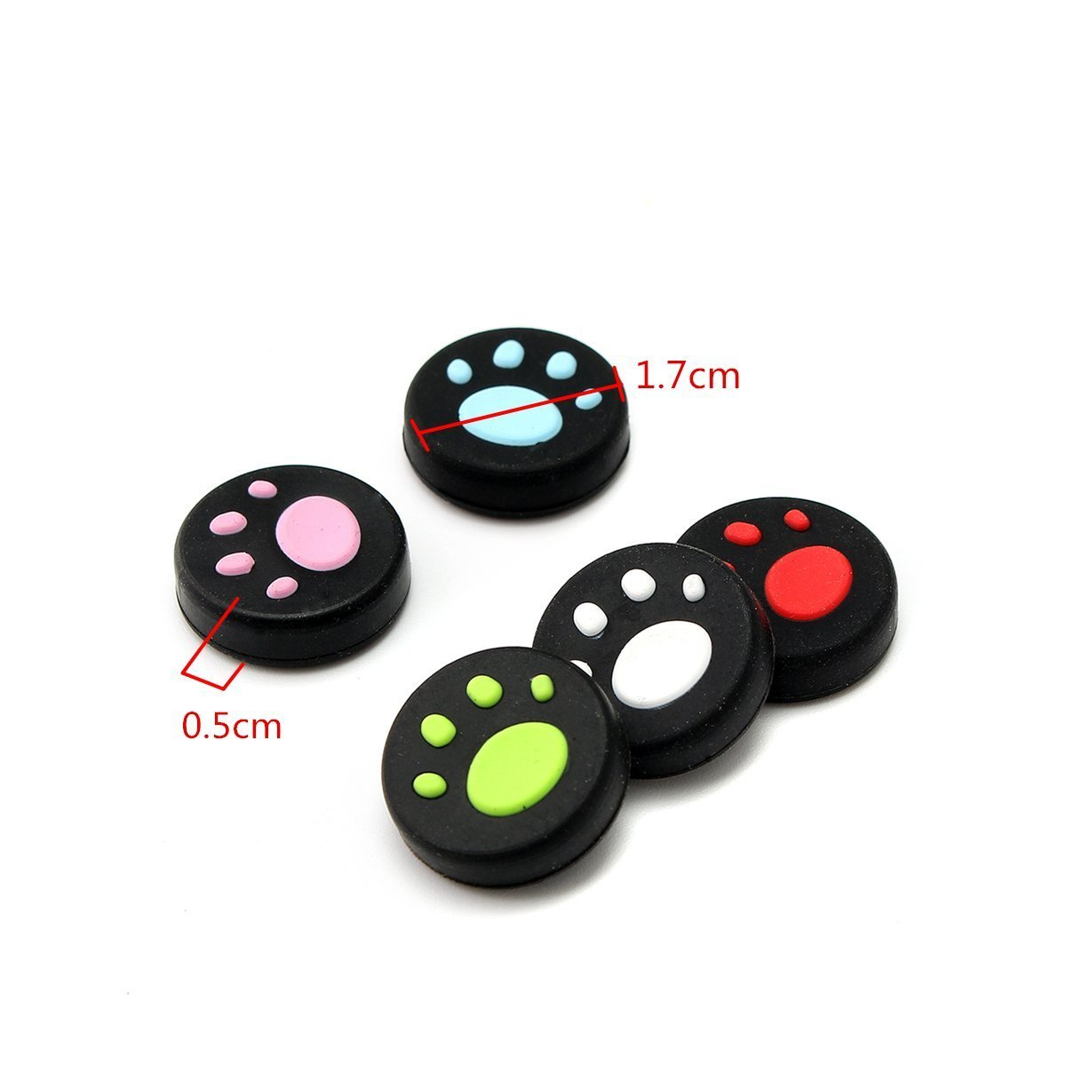 New 2PCS Silicone Anti-slip Thumb Grip Stick Cover Joystick Caps For Nintendo Switch NX NS Joy-Con Controller -Cat Paw Red