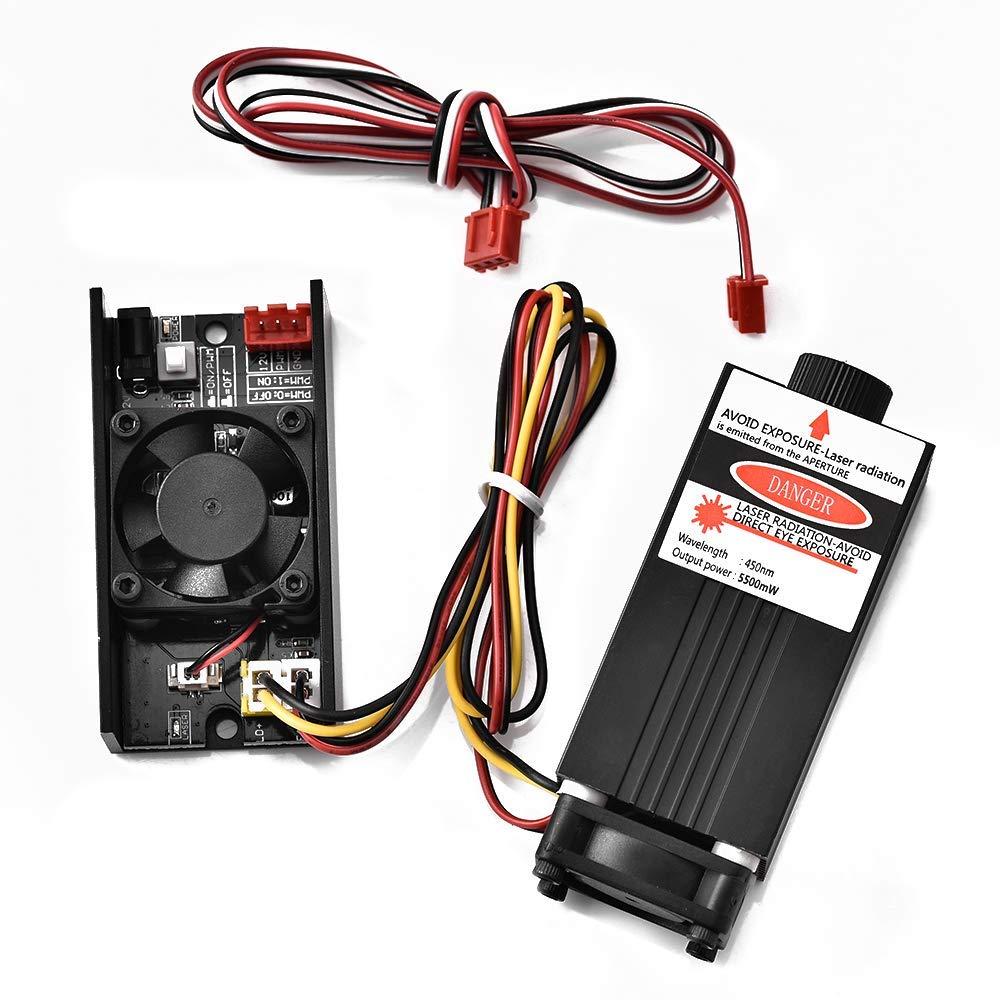 Laserkopf-Graviermodul Schutzbrille f/ür DIY-Laser-Graviermaschine justierbarer DC 12V-Laserkopf Vogivigo 5500mW 450nm TTL PWM-Steuerlaser-Modul