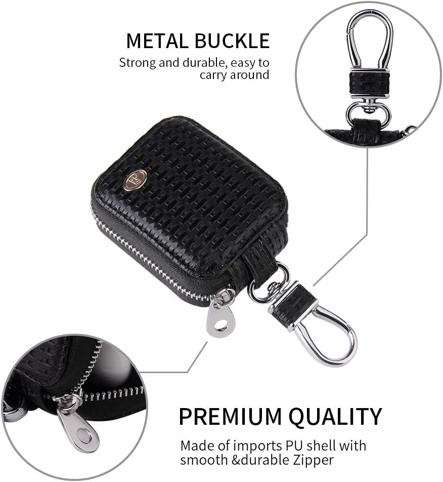 MRPLUM Earbud Carrying Case Small Compatible with AirPods PU Leather Hard Portable Earphone Case Protective Storage Pouch Bag with Mesh Pocket /& Keychain for Wireless Headphone USB Cable Black