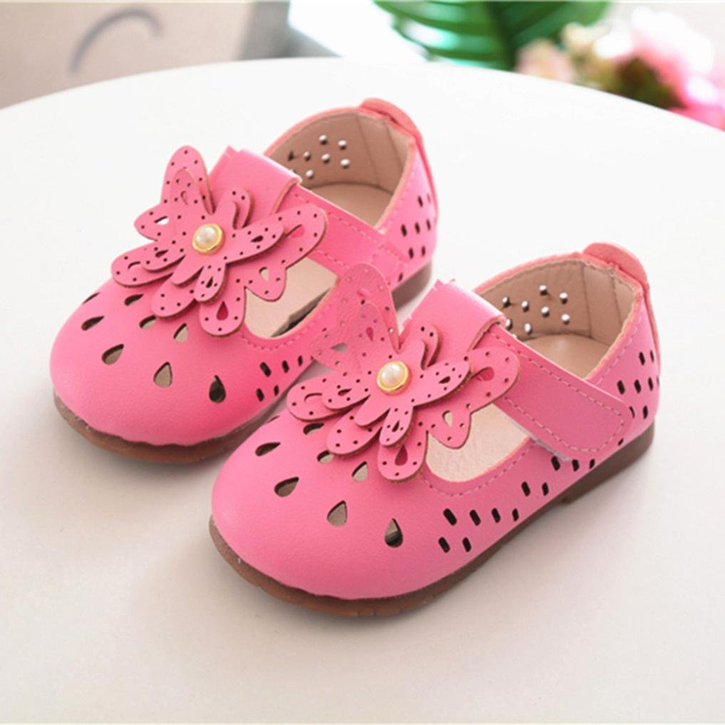 Voberry Baby Moccasins Girl Hollow Out Sandals Leather Princess Dress Mary Jane Flat Shoes