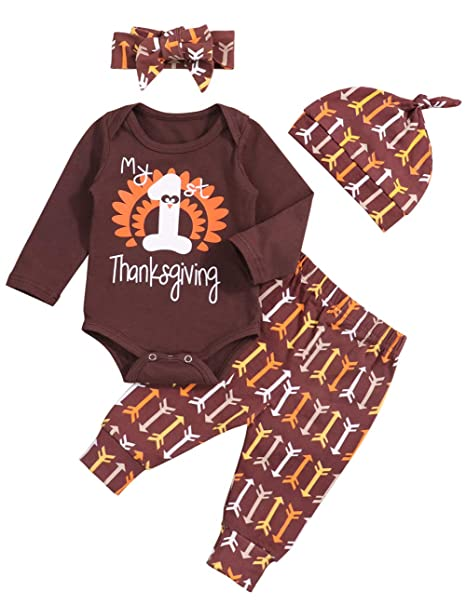 1bc51287a3b50 Thanksgiving Baby Outfit Newborn Boy Girl My 1st Thanksgiving Romper Turkey  Print Pants 4Pcs Clothes Set