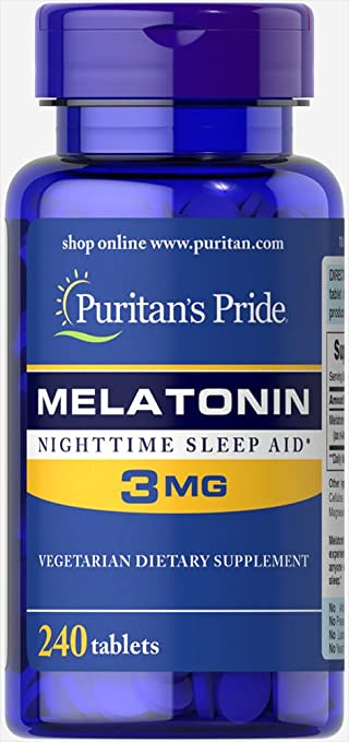 Image Unavailable. Image not available for. Color: Puritans Pride Melatonin 3 mg-240 Tablets