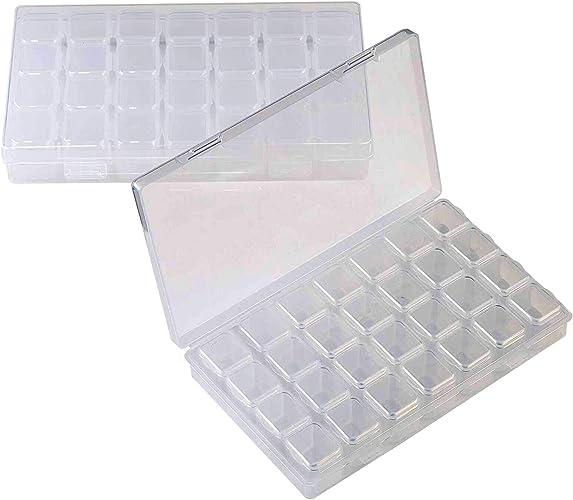 MUCHEN SHOP Organizador Extraíble de Plástico,2 Pack 28 Transparente Cajas de Pintura de Diamantes Joyería Organizar Caja para Arte de Uñas DIY Craft: Amazon.es: Joyería